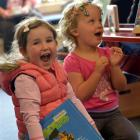 Imogen Knox, of Waikouaiti (left), and Saphire Castle, of Palmerston (both 3), have fun at the...