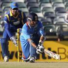 India's Sachin Tendulkar plays a shot off Sri Lanka's Tillakaratne Dilshan during their one-day...