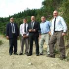 Inspecting the new Gabriels Gully walking track yesterday are, from left, Tuapeka-Lawrence...