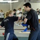 Instructor and personal trainer Richard McKinlay and Freiya Campbell go through the moves.
