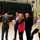 Invercargill MP Sarah Dowie tries her hand at volleyball during  the launch of the city's Healthy...