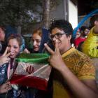Iranians in Teheran celebrate  a nuclear deal with major powers this week. Photo by Reuters.