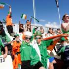 Irish supporters enjoy their team's efforts against West Indies in Nelson. REUTERS/Anthony Phelps