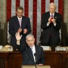 Israeli Prime Minister Benjamin Netanyahu acknowledges applause at the end of his speech to a...