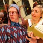 Thom Monckton and Jen McArthur are fingered at the Fortune Theatre yesterday.  Photo by Gerard O...