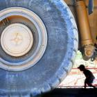 Jack (7) and Cameron (4) McFarlane, of Dunedin, walk under a dump truck at the Oceania Gold's...