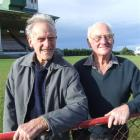 Jack Browne (left) and Neville Simpson are both life-members of the Oamaru Harness Racing Club....