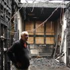 James Hargest College principal Andy Wood surveys arson damage at C Block on the senior campus,...