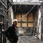 James Hargest College principal Andy Wood surveys the arson damage at the school's senior campus...