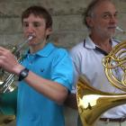 James (left) and Ben Liley are both playing the French horn at the Waitaki summer music camp in...