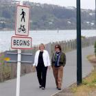 Jan Landmann (left) and Sarah Manning are dwarfed by the 6m cycleway lampposts as they walk past...