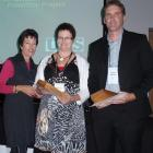 Jane Douglas (left), of NZPI, presents the Rodney Davies Project Award to the Department of...