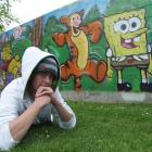 Jesse Geary used his spray-painting talents to create a mural in the Oamaru Public Gardens. Photo...
