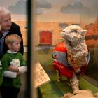 Johim Perriam looks at the Shrek mount in Te Papa with his grand-children Ollie (7) and Max (5)....