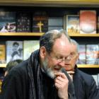 John Gibb speaks at the combined book launch in the University Book Shop last night.