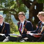John McGlashan College boarders (from left) Angus Webster (16), Ed Davies (17) and Christopher O...
