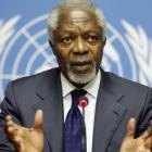 Joint Special Envoy of the United Nations and the Arab League for Syria Kofi Annan gestures...
