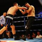 Joseph Parker (L) lands a right hand in his fight with Kali Meehan. Photo: Getty Images