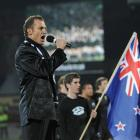 Jud Arthur performs the national anthem at Carisbrook before the All Blacks v Wales test match...