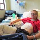 Kaden Johnston recovers from serious burns in Oamaru Hospital. Photo by Andrew Ashton.