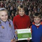 Kaikorai Primary School, Dunedin, pupils (from left) Meg Ballantyne (9), Nicole Ruske (9) and...