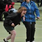 Kaikorai Valley College's Chloe Simonsen (15) and teacher aide Christine Patrick enjoy a laugh.