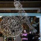 Karan Snow (left) and Katrina Thomson building a seashell and a sea-horse lantern. Photo by Jane...