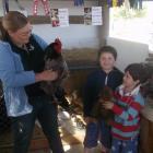 Karena Hitchcock (left) introduces Luca (10) and Matteo (7) Ballara (and Walt the bear from...