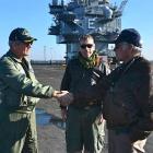 Karitane doctor Dave McKay (centre) with Enterprise's last Skipper Captain Bill 'Boomer' Hamilton...