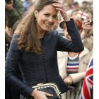 Kate Middleton reacts to the crowd at Witton County Park, Darwen, England.  (AP Photo/Alastair...