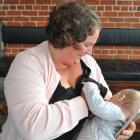 Kathryn Whitwell, of Dunedin, breast-feeds her 6-month-old son, Hugo Anstey, at the Burp launch...