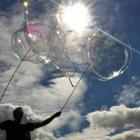 Keen Dunedin bubble-maker Julian Cox watches as a passing wind helps create a long, flowing...