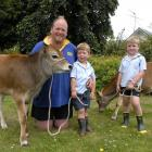 Kelly Allison and his boys Reuben (3) and Flynn (5) with two of the calves they intend to show....