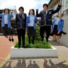 King's and Queen's High School pupils (from left) Tayla McLay (17), Taraia Donnelly (17), Sari...