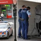 Constable Nathan White and Acting Sergeant Karl Hemmingsen, of Dunedin, speak to a man after he...