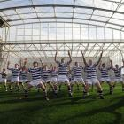 Knox College players perform the haka after their match against Selwyn College on opening day,...