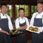 Kobe Cuisine head chef Yuki Ariya (centre) with chef Kensaku Yanagimura (left) and chef de partie...