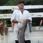 Lance Hyland holds a groper to be auctioned at the Moeraki offshore fishing competition. Photo by...