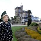 Larnach Castle owner Margaret Barker and the distinctive castle garden. Photo by Linda Robertson.