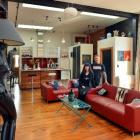 Lawrie and Sarndra Forbes in their warehouse apartment. ''Lucy the lamp'' (at left), was bought...