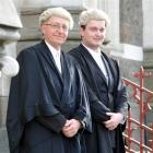 Lawyers Alex Pohl and his father, John, after the  Bar admission ceremony at the Dunedin District...