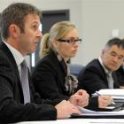 Lawyers (from left) Phil Page and Bridget Irving with Dunedin Mayor Dave Cull and city councillor...