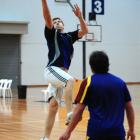 Laying up a basket at the Edgar Centre yesterday is loose forward Adam Thomson. The wet weather...