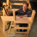 Leaning Lodge Trust secretary Alan Thomson, with a bunk built for the Leaning Lodge hut in the...