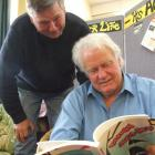Literacy North Otago tutors Peter Finlayson (left) and Cliff Browne have both had two stories...