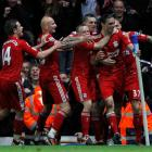 Liverpool's Andy Carroll celebrates his goal against Blackburn Rovers.  REUTERS/Darren Staples