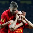 Liverpool's Jonjo Shelvey celebrates with a teammate after scoring against BSC Young Boys (YB)...