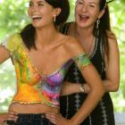 Living canvas . . . Joanne Gair shows off the tie-dyed shirt she painted on model Annelise Burton...