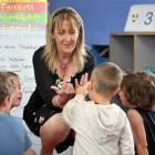 Liz Bishop counts out during a maths lesson with her younger pupils. Photos by Christine O'Connor.