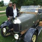 Lloyd and Gwen Ewing, of Nelson, with their 1920 Morris Oxford, during the North Otago Vintage...